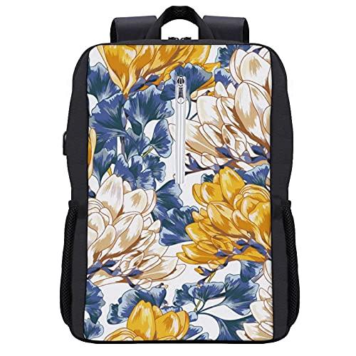 LUDOAN Mochila del viaje, Vintage patrón floral transparente amarillo y blanco,bolso durable delgado antirrobo del ordenador portátil del negocio con el puerto de carga