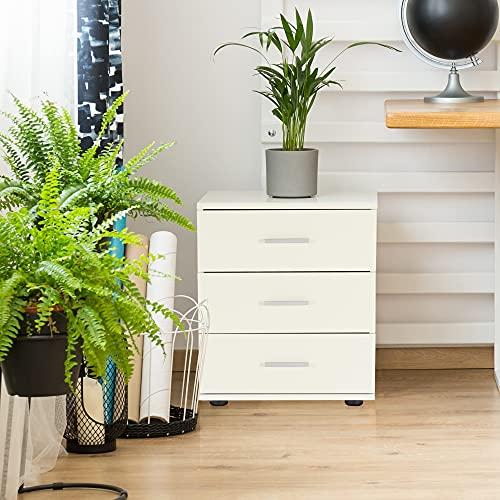 ML-Design Nachttisch mit 3 Schubladen, Weiß, 45 x 52 x 34 cm, aus Holz, Schlichter Nachtschrank Nachtkommode Kommode Beistelltisch Konsole Ablage, passend zu jedem Bett & Schlafzimmer oder Büro
