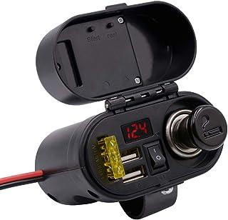 Festnight Pantalla LED Digital Multifunción de la Motocicleta Adaptador de Cargador Impermeable con Reloj Dual USB