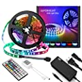 SUPERNIGHT RGB Light Strip Kit, 16.4ft 300leds Non-Waterproof Rope Lighting with 12V 5A Power Adapter and Remote Controller Dimmer for Bedroom TV Blacklighting Halloween Christmas (RGB)
