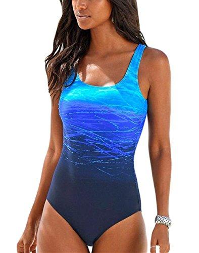 Happy Sailed Damen Badeanzug Farbverlauf Kreuz Rückseite Bauchweg Monokini Blau Gr.44-46