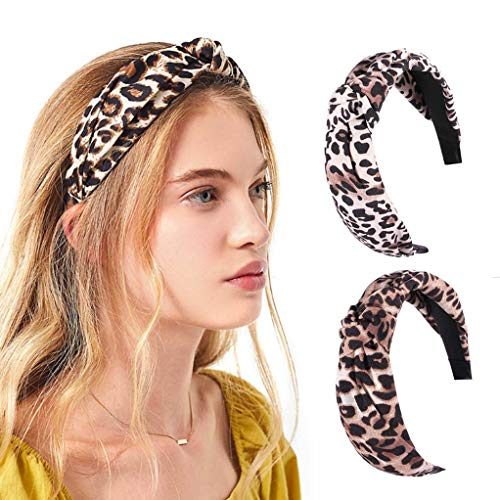 Zoestar Luipaard Gedrukte Hoofdbanden Kruisgeknoopte Hoofd Wrap Yoga Hardlopen Haarband Vintage Elastische Haaraccessoires voor Vrouwen en Meisjes(Pack van 2)