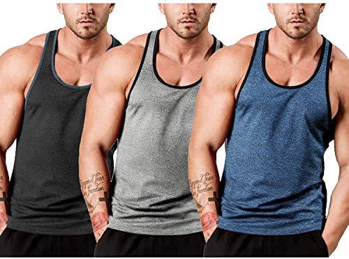 JINIDU Camiseta de tirantes para hombre, 3 unidades, de secado rápido, sin mangas, para culturismo Negro/azul marino/gris claro S