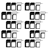 (10 Pack) New Nano Sim Adapter and Micro Sim Adapter and Nano to Micro Adapter with Sim Eject Pin Needle - Black