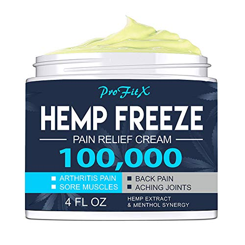 ProFitX Hemp Pain Relief Cream - 4 Oz - Natural Hemp Extract Relieves Inflammation, Knee, Muscle, Joint & Back Pain - Contains Arnica, Turmeric, Emu Oil - Non-GMO