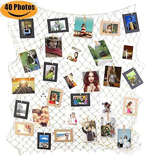 Goldbeing Foto hängende Anzeige Fischernetz Bilderrahmen Collage Fotorahmen Holzbilderrahmen mit Mini Wäscheklammern zum Aufhängen von Fotos, Bildern, Postkarten und Kunst (Style b)