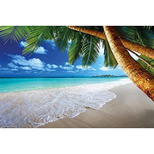GREAT ART® Fototapete – Strand Palmen – Wandbild Dekoration Karibik Traumstrand Bucht Paradies Natur Insel Palmen Tropen Blauer Himmel Sommer Tapete Wandtapete Fotoposter Wanddeko (336 x 236 cm)