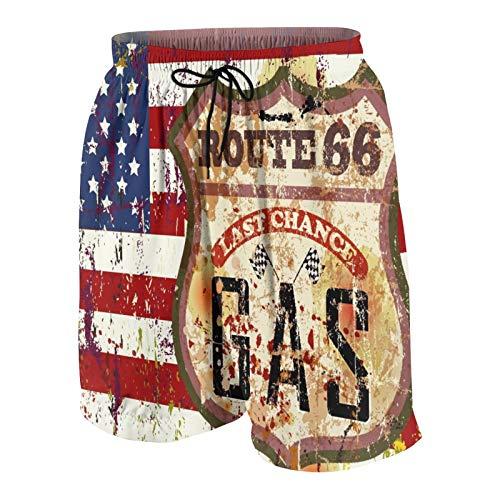 keiou Pantalones de Playa para Adolescentes,Señal de gasolinera Vintage Route Sixty Six,Ropa de Playa Trajes de baño Shorts de Playa XL