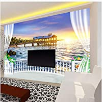 Lcymt バルコニー美しい海の景色日の出壁画リビングルーム寝室カフェレストラン背景壁家の装飾-400X280Cm