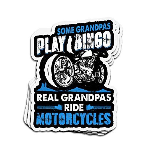 DKISEE 3 Stück Aufkleber Real Grandpa Biker Motorrad Motorrad Die-Cut Wandaufkleber für Laptop Fenster 10,2 cm
