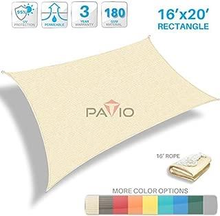 Patio Paradise 16' x 20' Tan Beige Sun Shade Sail Rectangle Canopy - Permeable UV Block Fabric Durable Patio Outdoor  - Customized Available