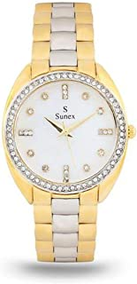 Sunex Women's White Dial Stainless Steel Band Watch, White, S6271TW