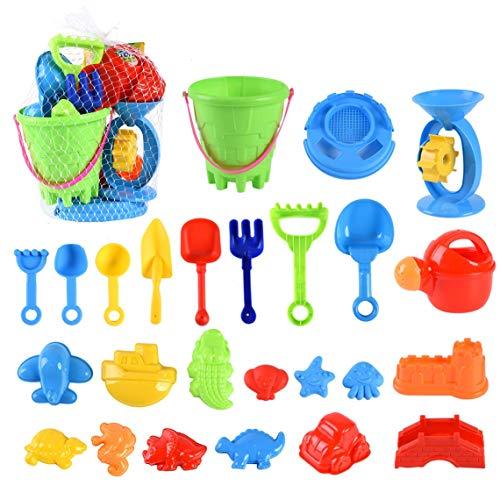 swonuk Kinder Sandspielzeug Set 25 Stück Strandspielzeug Sand und Wasser Spielzeug für Jungen und Mädchen