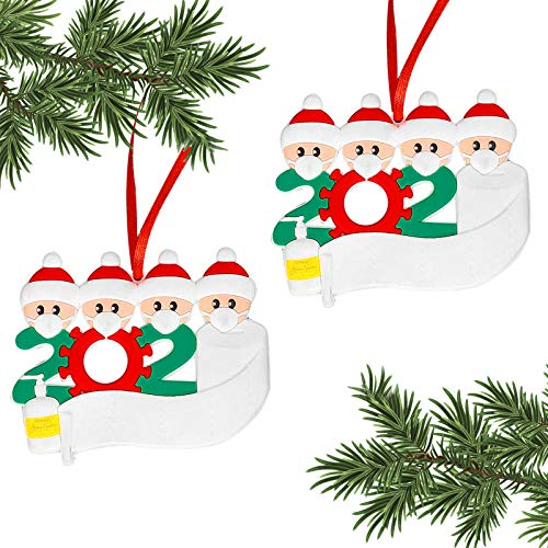 2020 Christma Ornament,Personalized Christmas Ornament,Christmas Decorating Set Christmas Party,2PCS/Set (Family of 4)