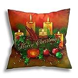 HCLIFE - Funda de almohada con diseño de yule de Navidad, divertida, decorativa, cuadrada, para sofá, cama, 45,7 x 45,7 cm