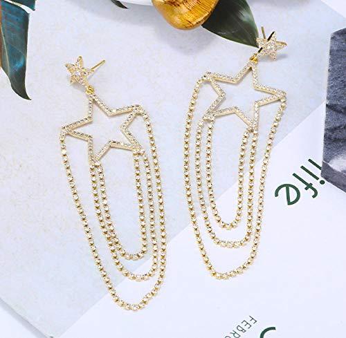 Pendiente Pendientes de estrella de cinco puntas brillantes Pendientes largos femeninos exagerados Pendientes de borla de personalidad de temperamento 925
