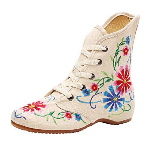 Stiefel Damen Westernabsatz Kurzschaft Schnürstiefel Blumen Bestickt Stiefeletten High-top Steigern Sie innerhalb Schnürsenkel Schuhe (39 EU, Weiß)
