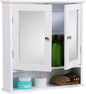 lunanice White 22.1 x 5.1 x 22.8''(LxWxH) Wall Mounted Bathroom Cabinet with Mirror Door Medicine Cabinet Adjustable Shelf Capacity 44 lb