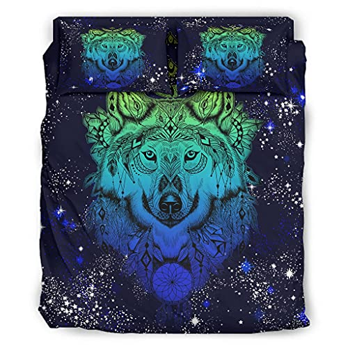 Viiry 4 Piece Bed Set Wolf Blue Individuality Durable Print - Bed sheet white 228x228cm