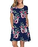 KORSIS Women's Summer Floral Dresses T Shirt Dress Flower Navy Blue XL