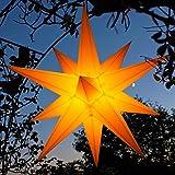Außenstern 55-60 cm Adventsstern Weihnachtsstern LED auswechselbar, Kabel 7m, geschlossen, wetterfest, Balthasar(gelb)