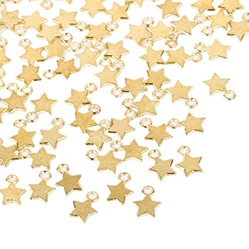 FLOFIA 100pcs Dijes Estrellas Oro dorado Mini Colgante Star Chapado Oro Aleación Vintage Retro 3D para Pulsera Collares Pendiente Bisutería Joyería Artesanía DIY (8 * 11mm)
