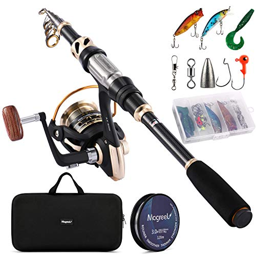 Magreel Telescopic Fishing Pole, Fishing Rod & Reel Combo Set with Fishing Lures Hook and Carrier...