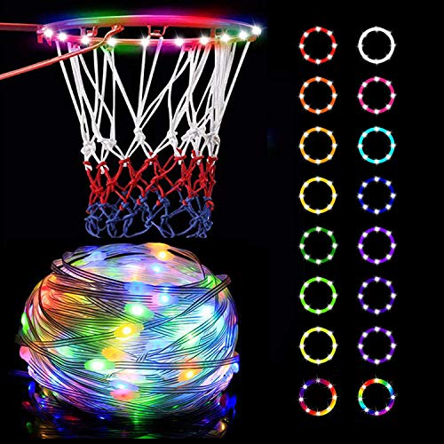 Bias&Belief Led Lights Basketball Hoop,Remote Control Basketball Rim LED Light,with 16 Colors,Waterproof,Super Bright To Play at Night Outdoors,Good Gift for Kids Training And Playing at Night,15FT