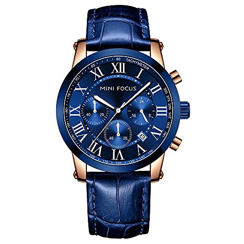 JTTM Reloj Cronógrafo para Hombre Movimiento De Cuarzo Fashion Business Sports Watch 30M Impermeable Regalo del Día del Padre,Rose Blue