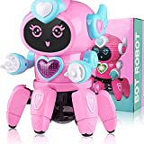 Marsjoy Pink Musical Baby Toys Dancing Walking Robot for Boys & Girls Kids or Toddlers Aged 6+ with Music and LED Colorful Flashing Lights Dancing Singing Baby Shower