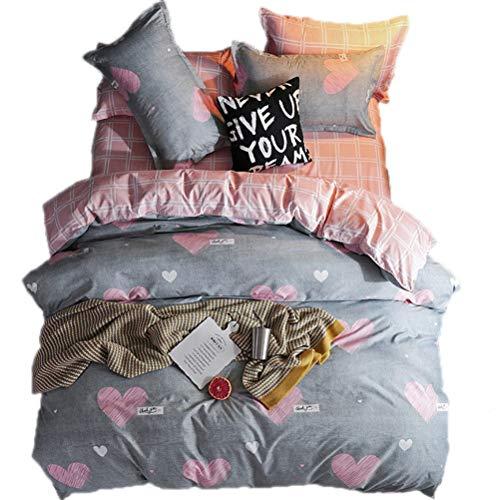 3pcs Cartoon Printed Pink Gray Star Bedding for Boys Girls Reversible Hidden Zipper hot Hearts Kids Duvet Cover Sets (Twin)