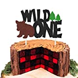 Wild One Cake Topper Lumberjack Rustic Hunter Camping 1st Birthday Party Cake Decorations Woodland Forest Themed Kids First Birthday Party Supplies