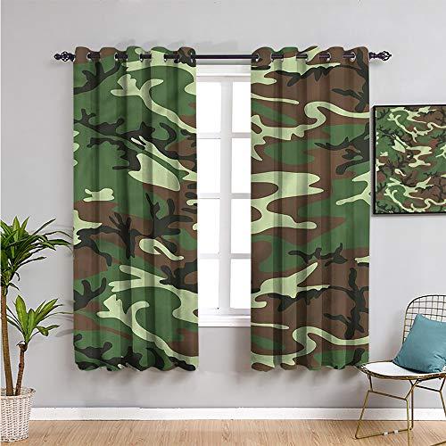 Pcglvie Cortinas aisladas de camuflaje de 160 cm de largo clásico americano Woodland cortina interior de 106 cm de ancho x 163 cm de largo