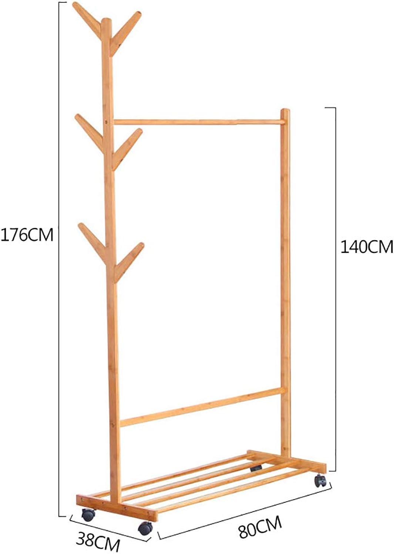 Standing Coat Racks Rolling Coat Rack Bamboo Garment Rack Coat Clothes Hanging Rail 1 Tiers 6 Hooks for shoes and Hat Rack (60cm, 70cm, 80cm, 100cm ) x 38 x 176 cm Optional (Size   80cm)