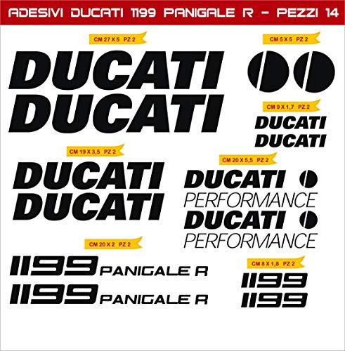 Adesivi Stickers Ducati 1199 Panigale R Performance Kit 14 Pezzi -Scegli Colore- Moto Motorbike pegatina cod.0589 (Nero cod. 070)