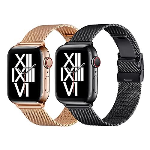 AFEKYY Correa de repuesto compatible con Apple Watch de 40 mm, 38 mm, 44 mm, 42 mm, de acero inoxidable y metal compatible con Apple Watch 6/5/4/3/2/1, SE. (38 mm, 40 mm, negro/oro rosa).