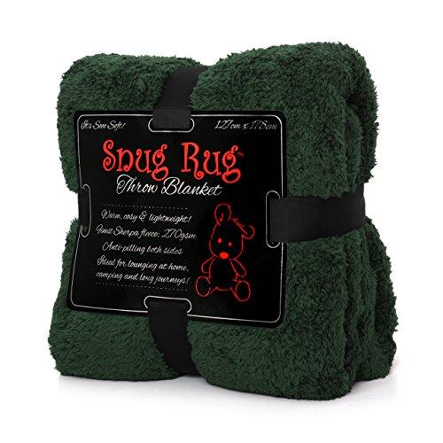 Snug Rug Véritable Tapis Douillet Couverture de Luxe à Chaud à Jet Polaire Sherpa (Vert)