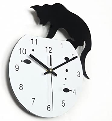 Imoerjia Creative Wall Clock Acrylic Cute Cat Wall Clock Creative Personalized Wall Clock Creative Silence in