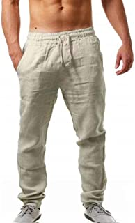 MakingDa Men's Cotton Linen Lounge Long Pants Pockets Drawstring Elastic Waist Smart Casual Hip Hop Trousers Bottoms
