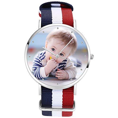 Soufeel Personalisierte Foto Armbanduhr für Damen Herren Analog Nylon Armband Klassisch Zifferblat Wasserdicht