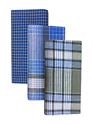 BlueLeaf PureCotton Lungis for Men Set of 3 ||Assorted Checks or