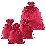 HRX Package Velvet Gift Pouches Red, Soft Velvet Drawstring Bags for Tarot Jewelry Christmas 4 Pack - 1 Large & 3 Small