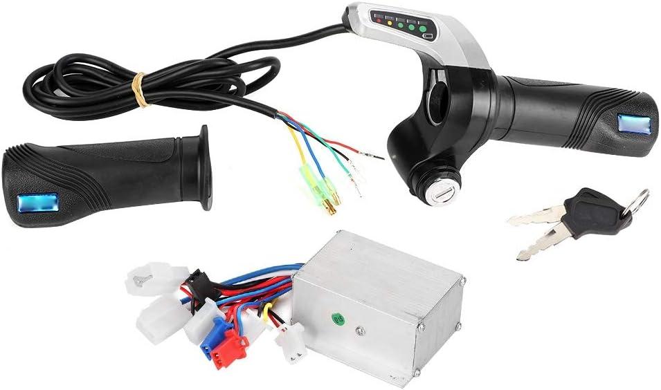 Controlador de Velocidad del Motor Cepillado, 24V 250W Kit de LED del Controlador de Velocidad Cepillado con Agarre del Acelerador de Bloqueo para Scooter eléctrico