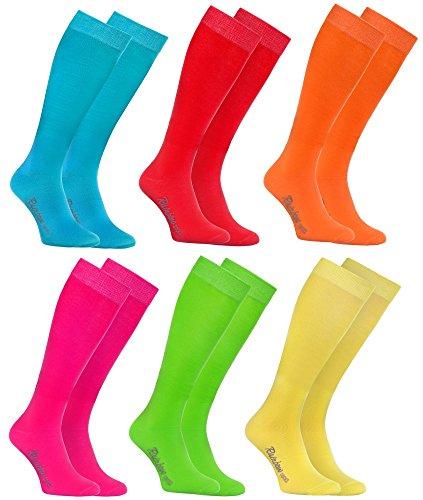 Rainbow Socks - Damen Herren Bunte Baumwolle Kniestrümpfe - 6 Paar - Türkis Grün Rot Gelb Orange Rosa - Größen 44-46