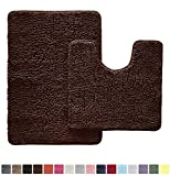 Gorilla Grip Original Shaggy Chenille 2 Piece Area Rug Set Includes Oval U-Shape Contour Mat for Toilet and 30x20 Bathroom Rugs, Machine Wash Dry, Plush Mats for Tub, Shower and Bath Room, Brown
