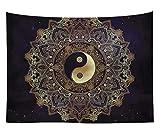 N / A Impresión Yin Yang Mandala Tapiz decoración del hogar Negro Tapiz de Pared Tapiz...