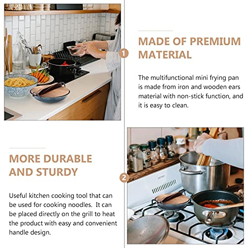 YARNOW 1 Set Wok Pan Mini Sartén Antiadherente de Hierro con Mango de Tapa de Madera Sartén para Servir Olla de Sharu para La Cocina Casera