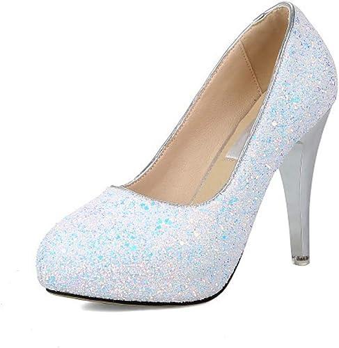 HLG Bout rond talons hauts femmes pu pu pu chaussures de mariage plate-forme intérieure des femmes glisser sur des chaussures formelles b37