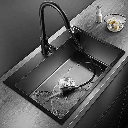 """25"""" Drop-In or Undermount Single Bowl Kitchen Sink / Bar Sink with Pull-Down Faucet, Soap Dispenser, Telescopic Drain Basket, Made of Stainless Steel with Nano Coating (Black)"""