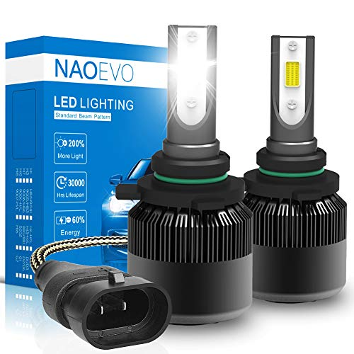 9012/HIR2 LED Headlight Bulbs, 60W 6400Lumens 6500K Cool White Super Bright, NAOEVO Adjustable Beam Conversion Kit